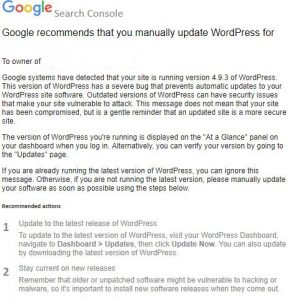 Google WordPress Notification