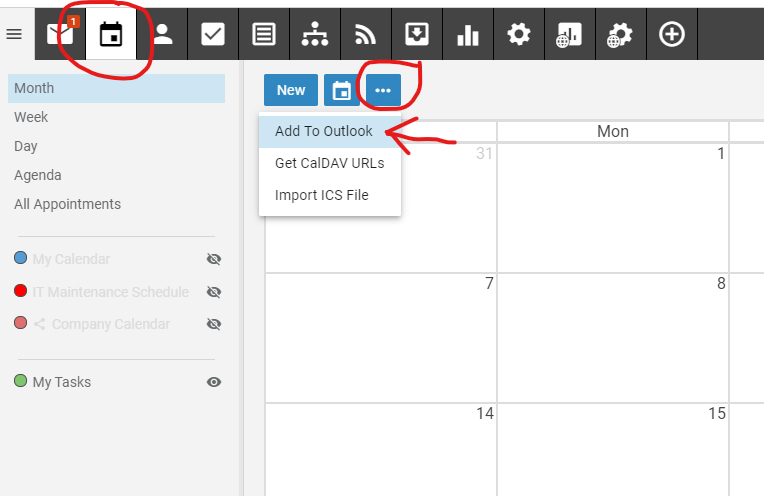 Adding Outlook Calendar to Smarter Mail